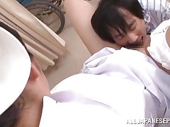 With a very hairy cunt between her thighs, nurse Akari is making this guy and us horny. She spreads those beautiful legs and moans while the man fingers her pussy and gives it a few mean licks. He licks her breasts too and it seems that the cute nurse is ready for a deep hard fuck, want to see some more?