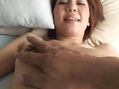 Pretty Oriental mother i'd like to fuck sucks on hard dong and her unshaved cunt fingered